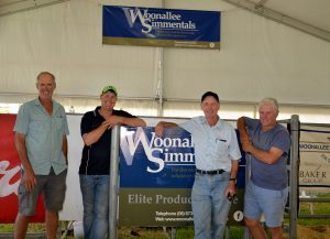 One of the key buyers at the sale was Daryl Cameron (2nd right), Cann River, Vic with 62 heifers. He is with the three Furner based sale vendors, Chris Bateman, Tom Baker and Dale Bateman.