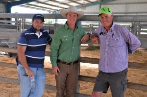 The two volume buyers at the Woonallee Elite Ladies Female Sale with four heifers each are Jarrad Bonanno, Norman Park Simmentals, Windsor, NSW; his buying agent, Alistair Keller, Landmark Minlaton; and Tony Head, Cummins, SA.
