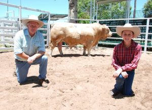 Landmark's Ross Jorgensen with Tom York and the $18,000 top priced bull of the Billa Park Simmentals Clermont bull sale on Thursday. Photo by QCL
