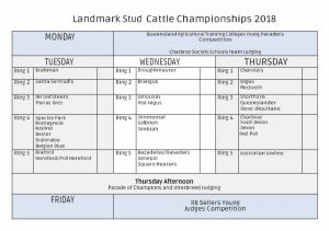 Beef judging timetable