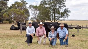 Spence Dix & Co's Mark O'Leary with Lancaster stud principal Tim Cartledge and purchasers of the $15,000 top price bull Robyn and Steve White, Roma, Qld. Photo by Stock and Land