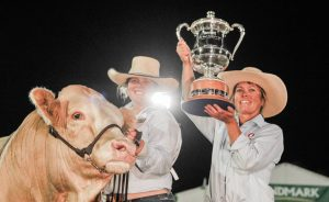 Bec Skene and her mother Elizabeth Skene, Meldon Park Simmentals, Cecil Plains, were jubilant after claiming the Beef Australia 2018 interbreed champion bull trophy. Photo by Kelly Butterworth.