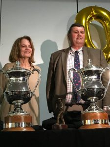 Celebrating 30 yrs of #BeefAus2018 all-breed stud champions with launch of new perpetual trophies for future winners; unveiled by inaugural '88 champions Wendy Lapointe (Dunmore London Town) and Rob Sinnamon (Robenlea Nightingale). Photo by Marty Rowlands